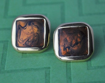 Vintage Napier Earrings, Gold Tone, Brown Marbled Metallic Earrings, Pierced Earrings, Brown Earrings, Square Earrings, Earthtone GS514