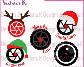 5x Santa Spy Cam, Rudolph Cam, Elf Cam, Christmas, Decoration, SVG, DXF, PNG, Files, Cricut Design Space, Vinyl Cut Files