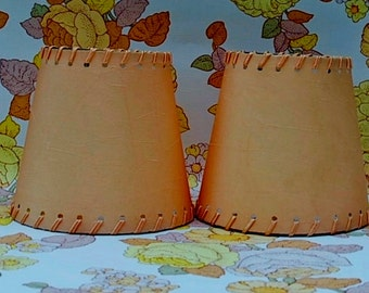 Two Vintage Clip On Small Lamp Shades in peach