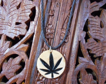 "14"" Cannabis Necklace (Adjustable) - Wood Burned Necklace, Pyrography Art, Wood Necklace, Cannabis"