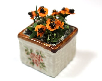 Miniature Flower Pot with Poppies