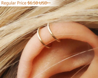 DOUBLE EAR CUFF, Ear Cuff, No Piercing, Gold Filled, Simple Ear Cuff, Earrings,Ear Wrap,Wrap,Fake Ear Cuff ,Goldfilled Earrings,Cuff