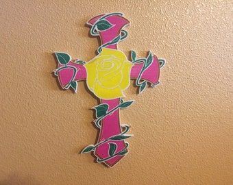 Cross and Rose wall decor