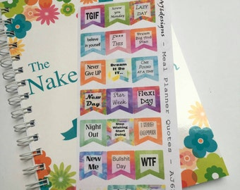 AJ6D407, Meal Planner Quotes, Planner stickers.