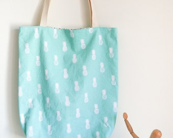 Tote bag reversible cotton reasons pineapple