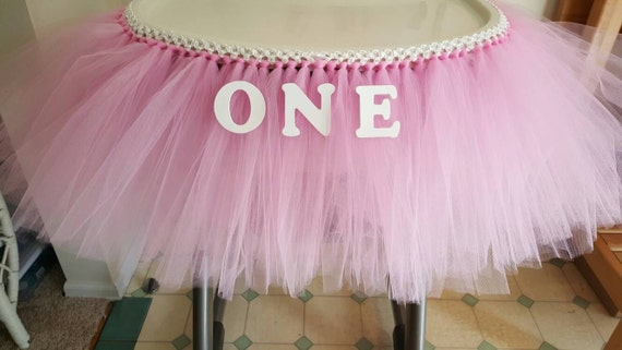 high chair tutu tulle table skirt banner pink by