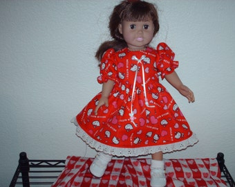 One of a kind Valentine dress. American girl doll fashion.