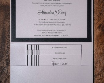 Black And White Striped Invitations, Black And White Lines Wedding  Invitations, Striped Wedding Invitation