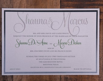 Green and white wedding invitations, green and silver wedding invitation, names invitation, green and white invitations, chic invitations
