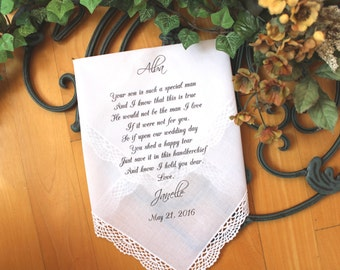 Mother of the Groom Handkerchief, custom PRINTED wedding handkerchief, Your Son is such a SPECIAL Man, Personalized. LS5FCAC