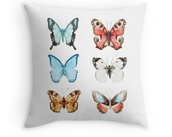 Watercolour Butterflies Cushion Cover. Throw Pillow. Blue. Orange. 16 inches. 18 inches. 20 inches. Square pillow case.