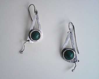 silver earrings and natural stone