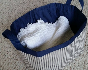 Fabric Storage Basket Bin Navy Blue Stripes Off White with Handles