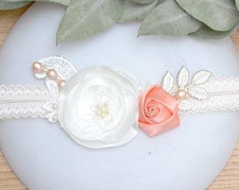 Wedding Garter, Bridal Garter, Floral Garter, Bridal Garter, Leaf Garter, Bohémian Garter, Romantic Garter,Ribbon Garter, French Accessories