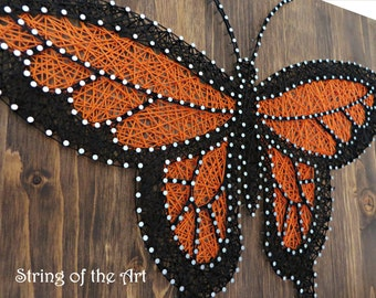 MADE TO ORDER String Art - Butterfly String Art, Monarch Butterfly, Orange and Black Butterfly, Wall Decor, Home Decor, Gift Ideas, Nail Art