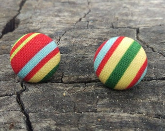 Retro stripes button earrings