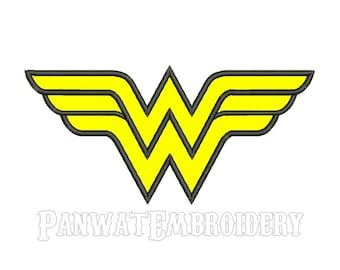 9 Size Wonder Woman Applique Embroidery Designs, Machine Embroidery Designs - 8 File Fomats - INSTANT DOWNLOAD