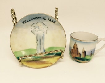Vintage Mini Cup & Saucer - Yellowstone Park