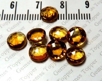 Citrine Cabochon 7mm Rose Cut Round Gemstone - Top AAA Quality Natural Citrine Cabochon - Citrine Faceted Cabochon Loose Gemstone - FOR ONE