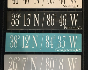 wood sign coordinates- now with CITY NAMES! birthplace, wedding, proposal, meeting, sentimental location
