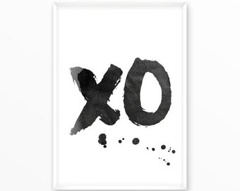 xo Print, Watercolor, printable, art, digital, Typography, Poster, Vintage, Grunge,Inspiration Home Decor, Screenprint, wall art, gift