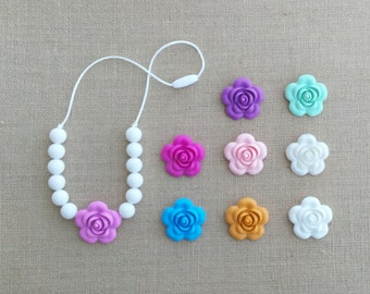 Teething Necklace, Chew Necklace for Kids - Sensory Necklace -Toddler Girl Necklace, Chewable Jewelry-Little Girl Necklace-Flower