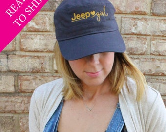 Jeep Girl Hat: Dark Gray Hat with Gold Embroidery
