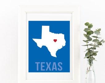 Texas Home Print – Custom Texas Print, Texas Wall Art