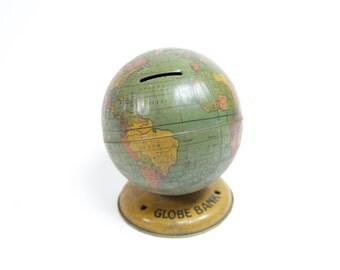 Vintage J. Chein Tin Litho World Globe Bank