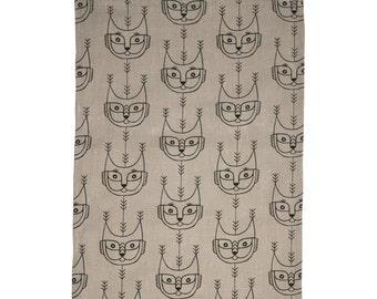 Hand screen printed 'Metsäkissa' tea towel in 100 % Linen - Beige and Black
