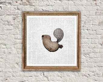 BEAVER PRINT: Cute Nursery Printable Art. Animal Print, Beaver Poster, Woodland Animal, Nursery Animal, Printable Art, Minimalist Poster