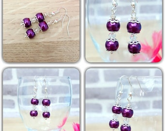 Purple Earrings, Dangle Earrings, Purple Bead Earrings, Gift for Her, Purple Jewelry Jewellery, Silver Earrings, Purple Wedding Jewelry