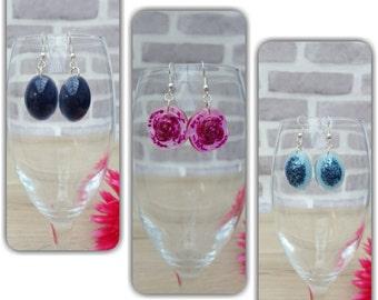 Resin Earrings, Resin Jewelry Jewellery, Flower Earrings, Glitter Earrings, Glitter Jewellery, Drop Earrings, Statement Earrings Jewelery