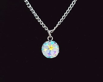 Frozen Snowflake Necklace, Holographic Snowflake Jewellery Jewelry, Winter Necklace, Silver Snowflake Necklace, Christmas Necklace,