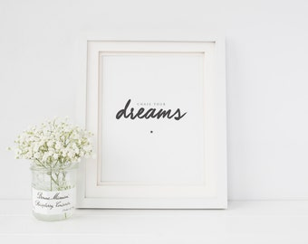Chase Your Dreams Typographic Wall Art Print - Typography Print - Dreams Print