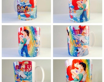 personalised mermaid ariel little mermaid siren disney sebastian mug cup gift precent