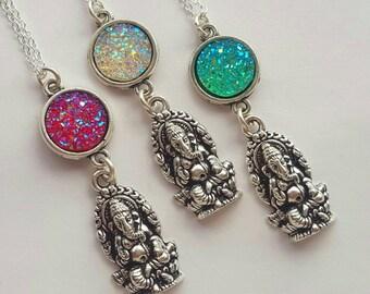 Faux Druzy Quartz Ganesh pendant and necklace