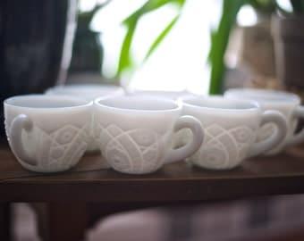 6 Vintage Milk Glass Cups