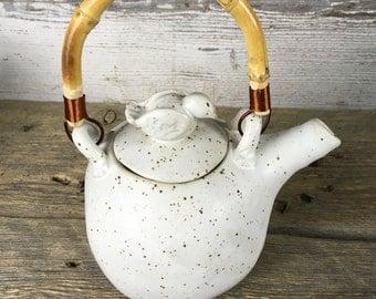 ON SALE! White teapot with bird