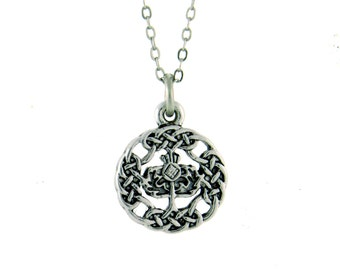 "18"" Celtic Scottish Thistle Necklace (Rpew34)"