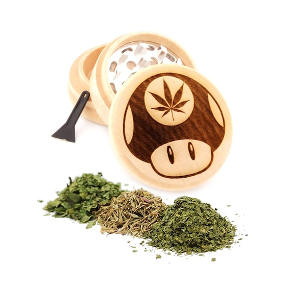 Mushroom Engraved Premium Natural Wooden Grinder Item # PW91316-11