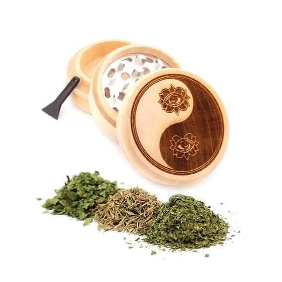 Yin Yang Engraved Premium Natural Wooden Grinder Item # PW91316-26