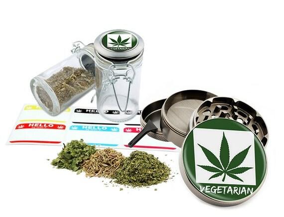 "Vegetarian - 2.5"" Zinc Alloy Grinder & 75ml Locking Top Glass Jar Combo Gift Set Item # 110514-0030"