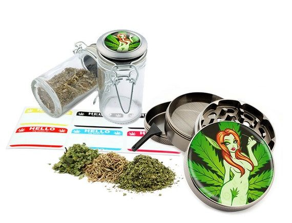 """Leaf Girl - 2.5"""" Zinc Alloy Grinder & 75ml Locking Top Glass Jar Combo Gift Set Item # G022315-009"""