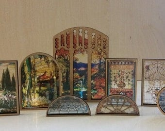 """Miniature Dollhouse Stained Glass look Architectural Series Window with Frame """"Autumn Leaves"""""""