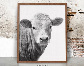 Cow Wall Art cow print nursery farm animal wall art black and white