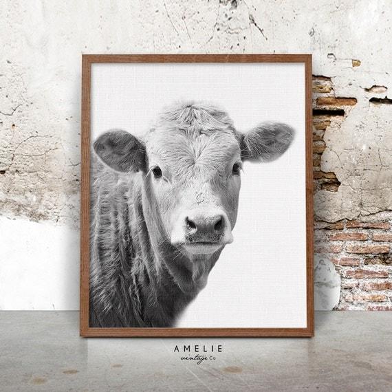 Farmhouse Decor Cow Print Rustic Home Decor Country Cottage