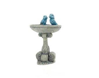 Bird bath, miniature bird bath, miniature garden, stone birdbath, bluebird birdbath, dollhouse birdbath, terrarium, garden globes, miniature