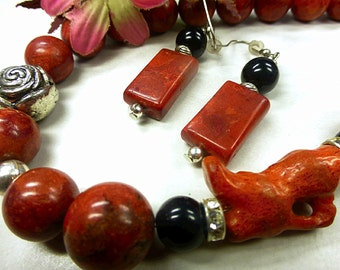 Red coral set with Onyx
