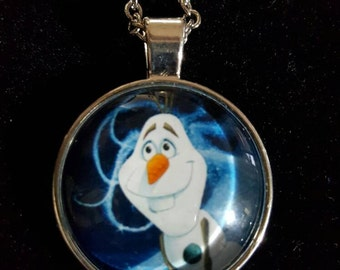 Frozen, olaf Inspired Charm Necklace, Pictured Cobochon,Cobochon,An 18 in Necklace,Special Gift, Special Necklace, game inspired, Silvertone